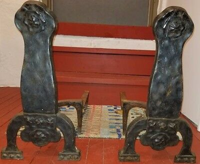 Vtg Antique Arts Crafts Gothic Spanish Revival Hammered Forged Iron Andiron Pair