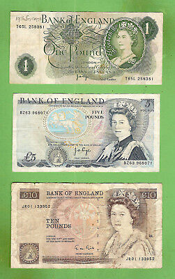 #d385. Great Britain  Circulated  One, Five  &  Ten Pound Banknotes