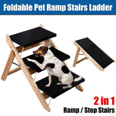3 Steps Foldable Pet Dog Cat Ramp Portable 2-in-1 Stairs Ladder Washable Cover