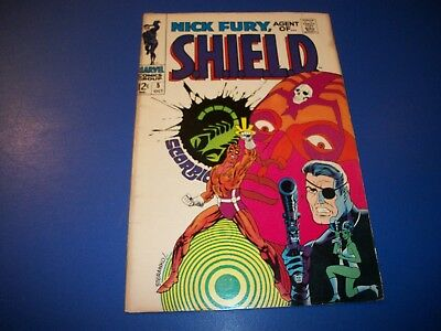 Nick Fury Agent of Shield #5 Silver Age Steranko Great Cover