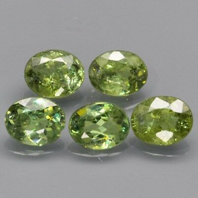 5pcs Lot 2.00ct t.w Oval Natural Yellowish Green Demantoid Garnet, Madagascar