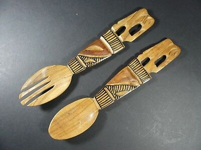 African Hand Carved Wood Salad Spoon and Fork 11""