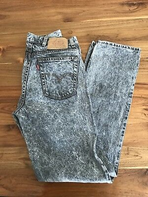 Vintage Levi Strauss Grey Acid Wash High Waisted Mum Jeans Sz 81 LL 12-14 Cotton