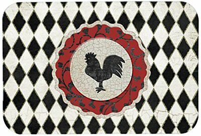 Rooster Kitchen Mat Harlequin Black White Bath Chicken Rustic Farmhouse  Country
