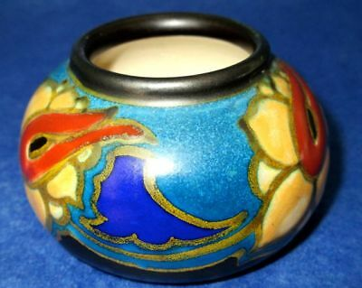 Gouda Holland Antique Art Deco Pottery Hand Painted Vase 1927 Signed Mint