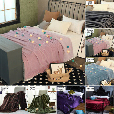 150x200cm Flannel  + Fleece Blanket Double Sided Soft Plush Bed Sofa Throw Rug