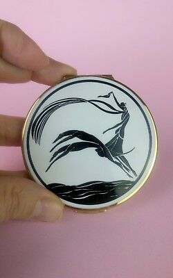 Vintage Stratton compact art deco black and white