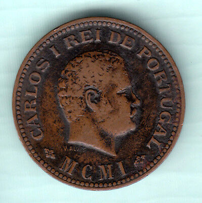 Portuguese Colonial India 1901 Extremely RARE 1/4 Tanga Copper Coin Carlos I A15