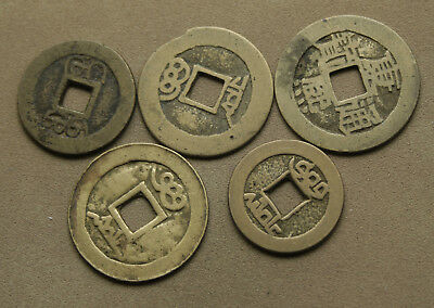 Group Of 5  Chinese Cash Coins They Look Right But Who Knows #dl94
