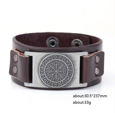 Ancient Viking Ethnic Scandinavian Norse Runes Leather Bracelet Wristband Cuff