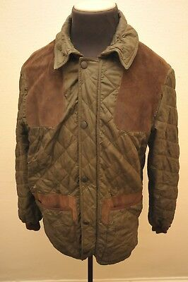 Barbour Shooting Sporting Quilt Jacket Green Shoulder Patches Knitted Cuffs L