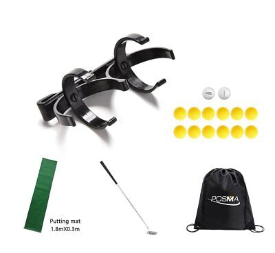 POSMA Golf Training Set: Golfball Halter, Tour/PU Ball, Putter, Putting Matte