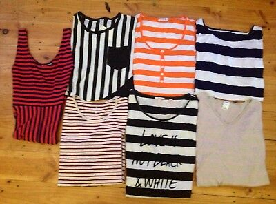 Mixed Items,7 Items,Striped theme, Long-Short Sleeve tops ,jumper, maxi Preloved