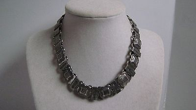 Victorian Revival Vintage Silver Plated Decorated Book Chain Collar Necklace