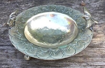 Old Vintage Silver White Metal Hammered Dish On Ball Claw Feet & Bird Finials