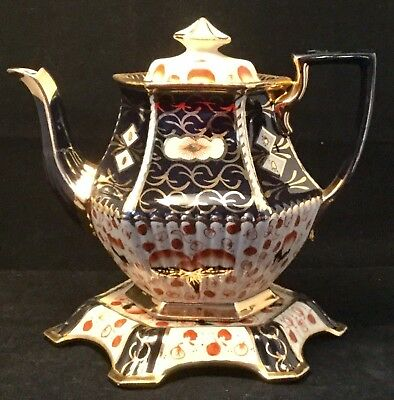 Antique Gaudy Welsh Teapot with Matching Stand - Imari Cobalt Blue