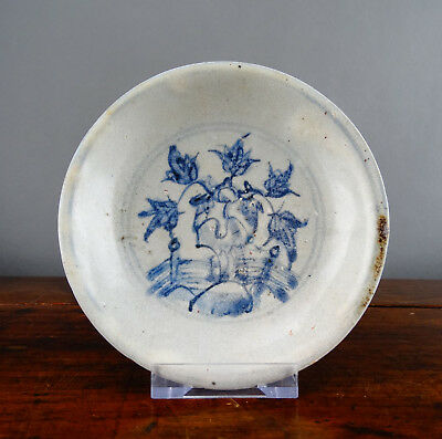 Antique Chinese Ming Shipwreck Porcelain Saucer Plate Blue & White 16th Century