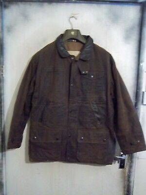 Barbour Bushman Waxed Quilted Hunting Jacket With Leather Trim Size L