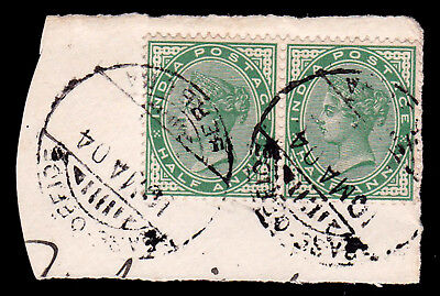 BRITISH SOMALILAND. BERBERA BASE OFFICE CDS. 1/2a PAIR ON PIECE.