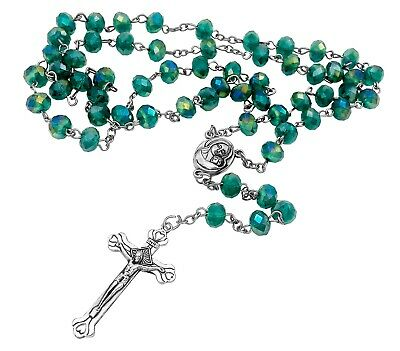 Catholic Rosary Necklace Green Crystal Beads Holy Soil Medal & Cross Crucifix NS