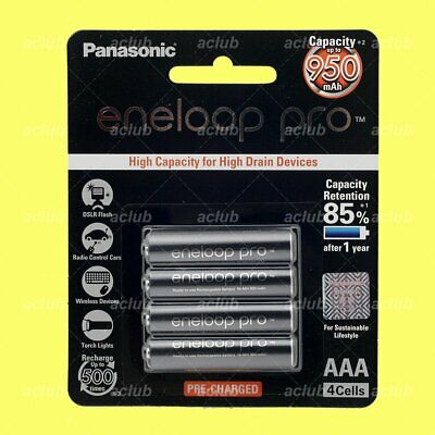 4x Panasonic eneloop pro 950mAh AAA Rechargeable NiMH Battery 2018-01 Japan Made