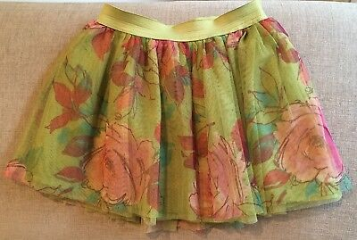 Gap Kids Girls Green Floral Tulle Skirt Small 6-7 I Want Candy Line Flowers