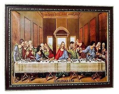 """The Last Supper Da Vinci Print Painting Hanging Wall Picture Holy Land 17.6"""""""