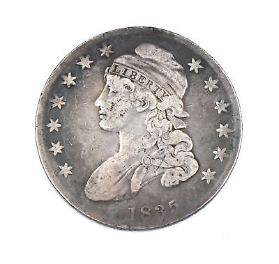 1835 Capped Bust Half Dollar Large Letters 90% Silver Us Collectible Coin Vg