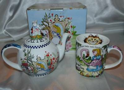 Paul Cardew Alice in Wonderland Teapot 2 Cup 18 oz + Mug Cheshire Cat NEW!