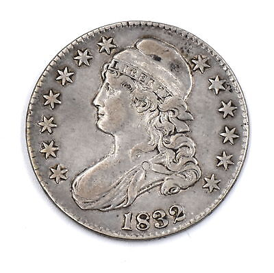 1832 Capped Bust Half Dollar Large Letters Lettered Edge 90% Silver Us Coin F-Vf