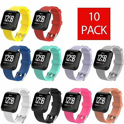 10-Pack Silicone Rubber Classic Band Strap Wristband For Fitbit Versa Watch
