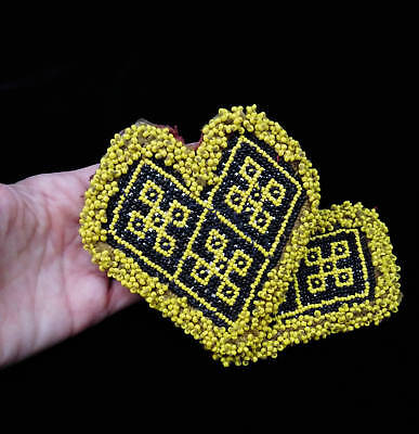 """4.25"""" x 4.5"""" Beaded Kuchi Heart Patches Tribal Crafts Jean Jackets Fusion"""