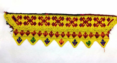 "Beaded Yellow Kochi Textile Belt Base Applique ATS Hippie Boho Chic DIY 16"" x 5"""