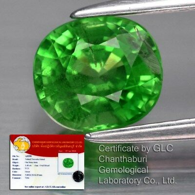 1.40ct 6.5x5.8mm Oval Natural Green Tsavorite Garnet, Tanzania *GLC Certified