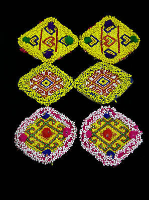 3 Pair Kuchi Beaded Patches Appliques Sew-on Tribal Dance Costuming