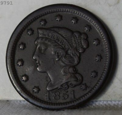 """1851 Braided Hair Large Cent """"VF"""" *Free S/H After 1st Item*"""