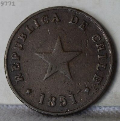 "1851 Chile 1/2 Centavo ""VF"" *Free S/H After 1st Item*"