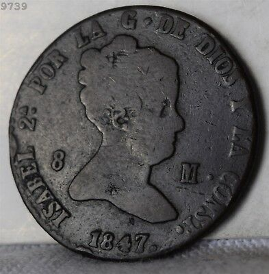 1847-Sg Spain 8 Maravedis *Free S/H After 1st Item*