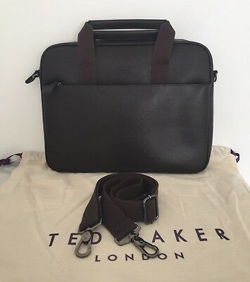 46f97ca373093 MENS LEATHER BAG - Ted Baker Brown Leather Morcor Document Bag Bnwt ...