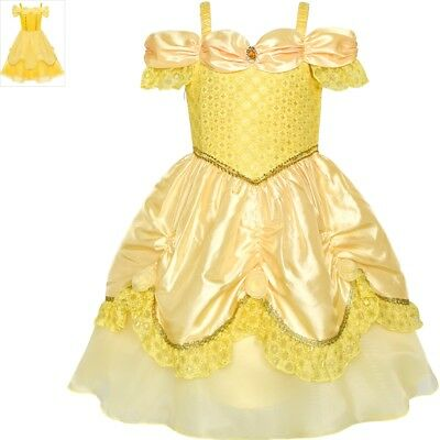 Sunny Fashion Girls Dress Yellow Princess Belle Costume Birthday Party Size 3-8