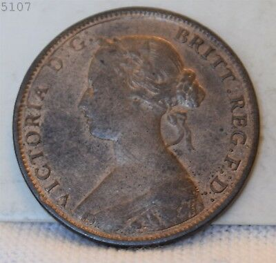 "1862 Great Britain Half Penny ""Choice BU Red Brown"" *Free S/H After 1st Item*"