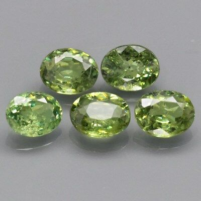 Calibrated 5pcs Lot 2.05ct t.w Oval Natural Yellowish Green Demantoid Garnet