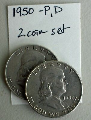 1950 P & D Franklin Silver Half Dollars 2 Coin Lot TWO 50c Average Circ US Coins