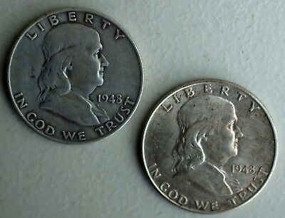 1948 P & D Franklin Silver Half Dollars 2 Coin Lot TWO 50c Average Circ US Coins