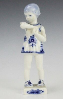 Vintage Royal Copenhagen Blue Fluted Girl w Butterfly Porcelain Figurine NR GLP