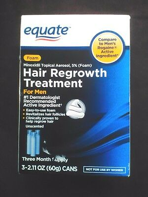 3 Equate Foam Topical Hair Regrowth Treatment - MEN 3 Month Supply EXP 2/2018