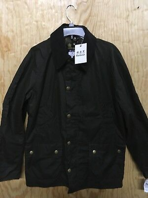 NWT Barbour ASHBY Jacket Olive Waxed Cotton Men's Large Tartan Lining