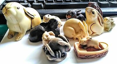 Lot of 10 Japanese Carved Resin Bone Rabbits Netsuke Okimono Artist Signed MFA
