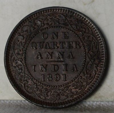 """1891 British India 1/4 Anna """"BU Red Brown"""" *Free S/H After 1st Item*"""