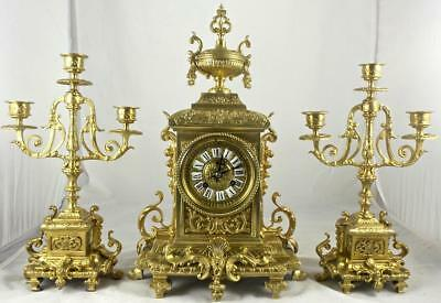 Beautiful Antique French 19thc gilt bronze mantle clock garniture set by S.Marti